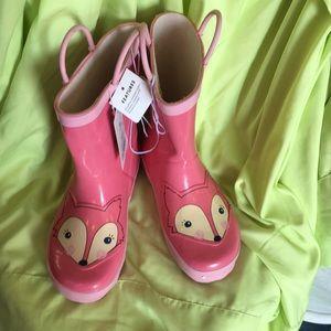 Cat & Jack Rain boots Pink/Zoey Fox  XL 11/12